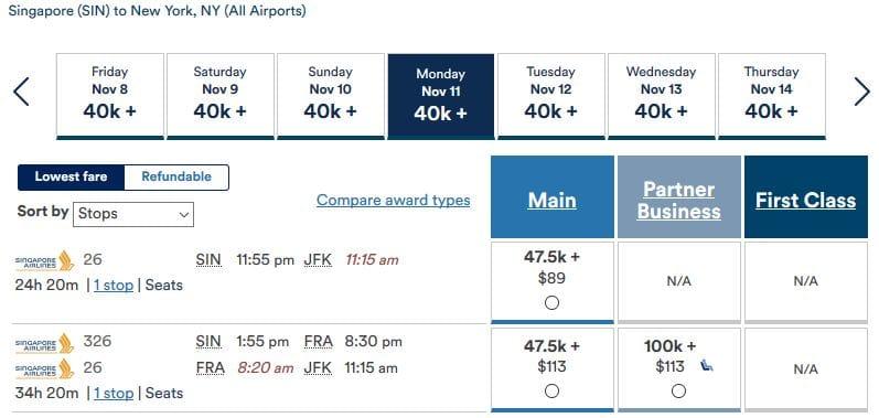 Alaska Mileage Plan Prämienflug Singapore Airlines Business Class Singapur nach New York