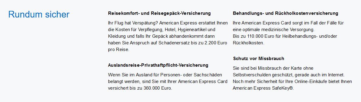 American Express Green Card Oesterreich Uebersicht Versicherungsleistungen