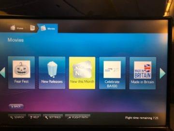 british airways first class boeing 777 auswahl filme
