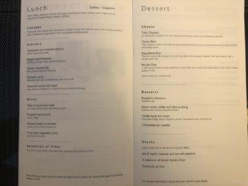 british airways first class boeing 777 lunch dessert