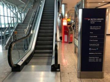 british airways galleries club lounge london heathrow terminal 5 b gates rolltreppe zur lounge