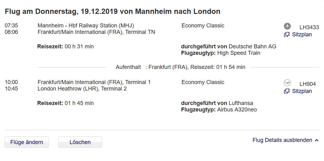Lufthansa Express-Rail Von Mannheim Nach Frankfurt
