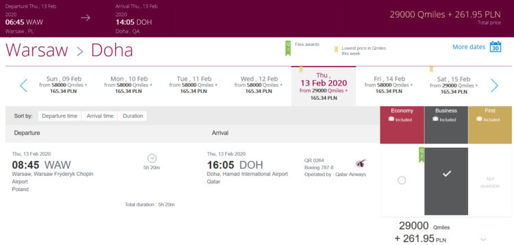 Qatar Airways Privilege Club Easy Deals Dezember 2019 Warschau Doha