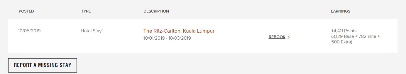 Ritz Carlton Kuala Lumpur Punktegutschrift