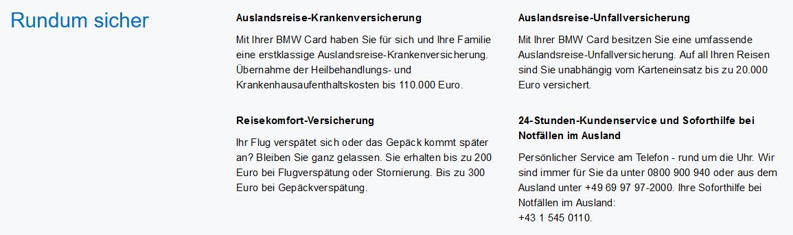 american express bmw card oesterreich uebersicht versicherungsleistungen