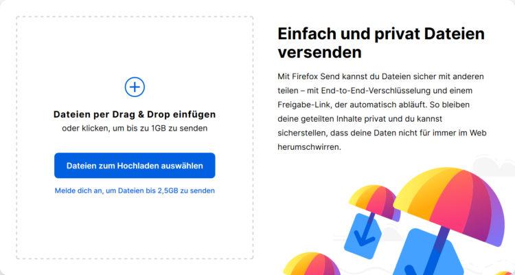 Firefox Send Dateien Versenden