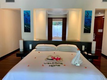 hilton seychelles labriz beach villa bett