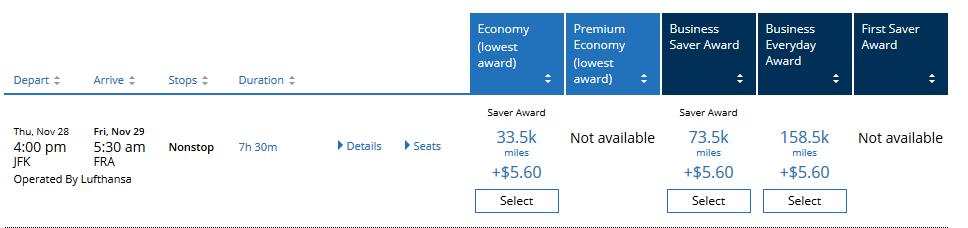 Lufthansa Beispielbuchung Jfk Fra November 2019