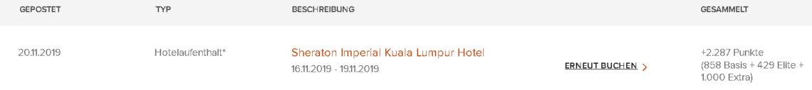 Sheraton Imperial Kuala Lumpur Punktegutschrift