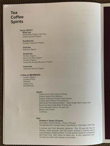 swiss first class a340 300 getraenke menu zurich shanghai 5