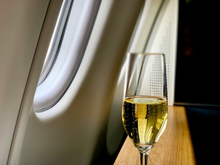 swiss first class a340 300 predeparture drink 1