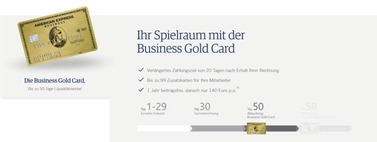 American Express Business Gold Kreditkarte Zahlungsziel