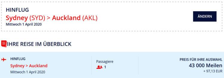 flying blue praemienflug qantas business class sydney auckland