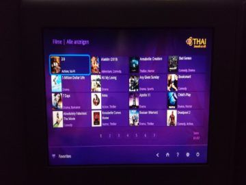 thai airways business class airbus a380 osaka bangkok entertainment filmwauswahl