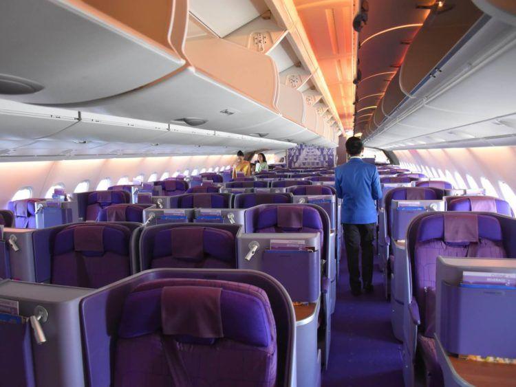 thai airways business class airbus a380 osaka bangkok leere kabine