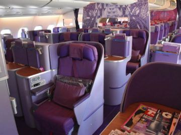 thai airways business class airbus a380 osaka bangkok mittelplaetze