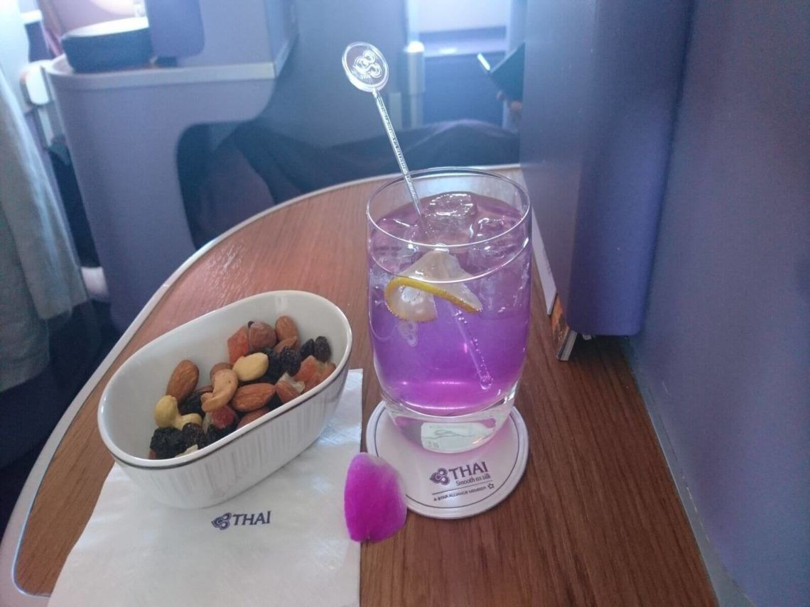 Thai Airways Business Class Airbus A380 Osaka Bangkok Signature Drink