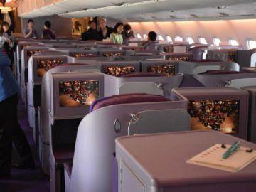 thai airways business class airbus a380 osaka bangkok vorderer bereich