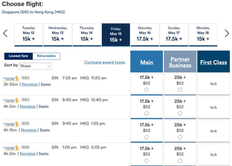 Alaska Airlines Mileage Plan Praemienflug Singapore Airlines Singapur Hongkong