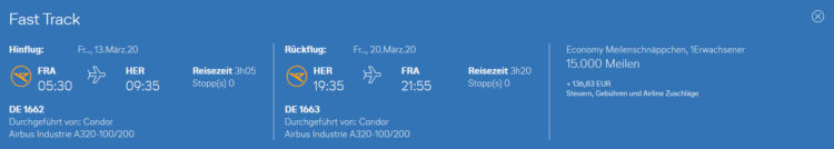 Condor Meilenschnaeppchen Februar 2020 Heraklion
