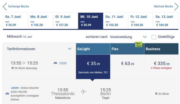Flugpreis Aegean Economy Thessaloniki Berlin