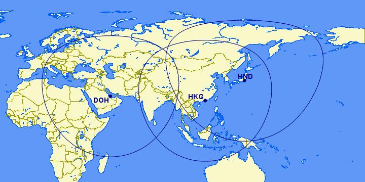 Great Circle Mapper 2750 Meilen Doh Hnd Hkg