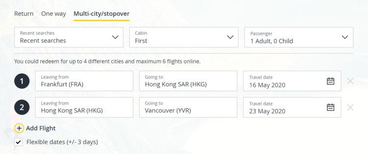 Asia Miles Multistop Suche Fra Hkg Yvr