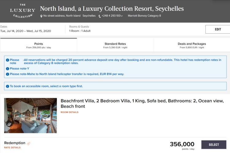 North Island Resort Seychellen Marriott Bonvoy Punkte