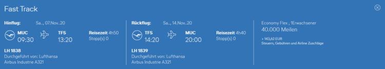 Praemienflug Lufthansa Muenchen Teneriffa Economy