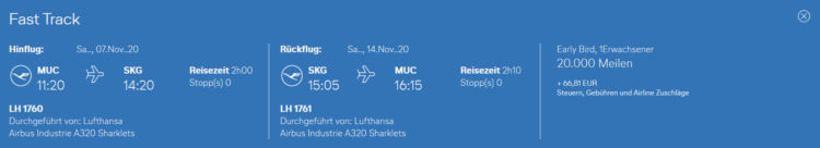 Praemienflug Lufthansa Muenchen Thessaloniki Economy