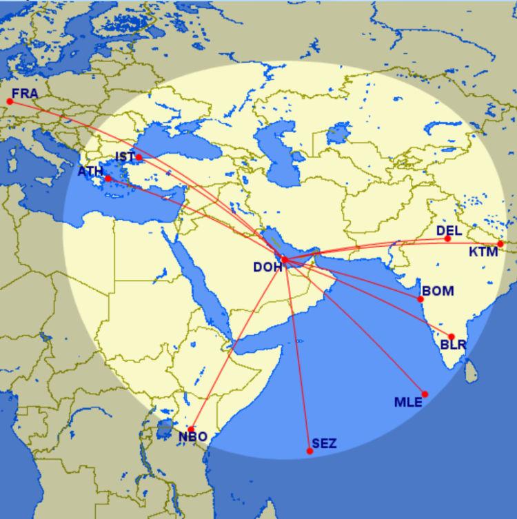Qatar Airways Strecken Ab Doha Unter 2147 Meilen