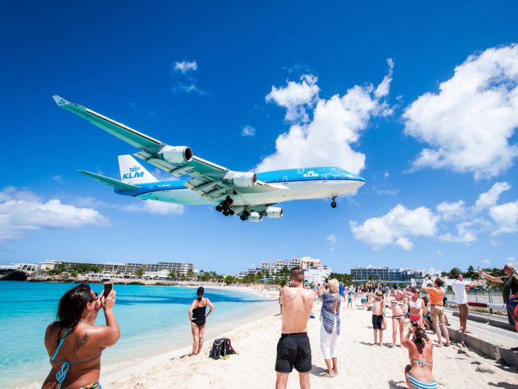 Klm Boeing 747 St Maarten Landung Copyright