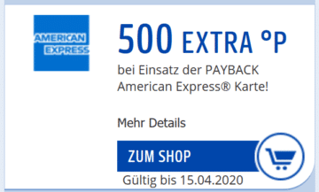 Payback Coupon Payback Amex 500 Punkte