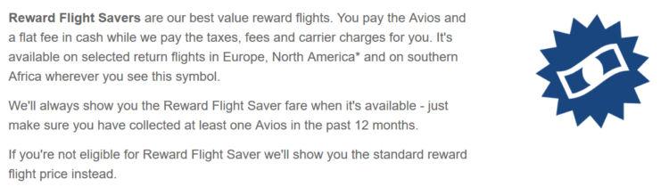 British Airways Executive Club Reward Flight Saver Definition April 2020