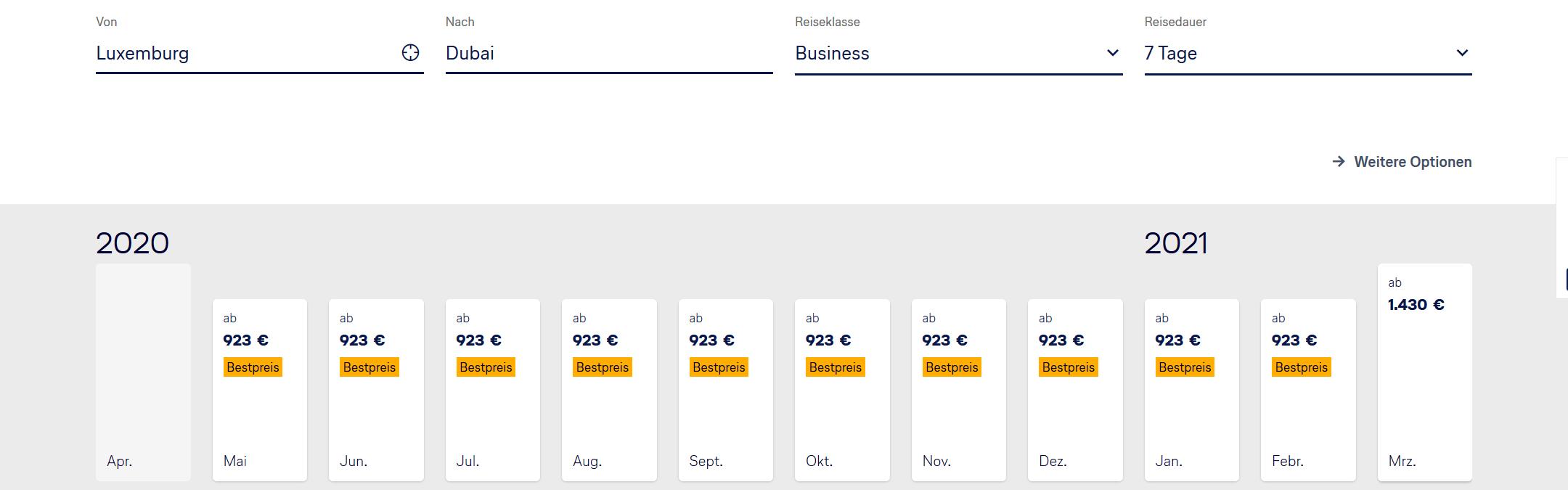 Lufthansa Bestpreissuche Business Class Luxemburg Dubai