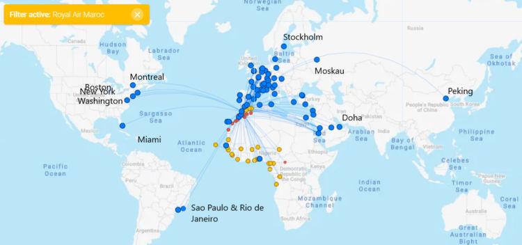 Royal Air Maroc Streckennetz auf Flightconnections.com
