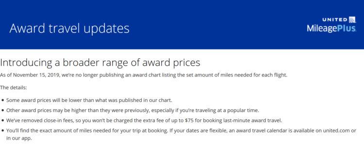 United Mileage Plus Award Chart Abschaffung