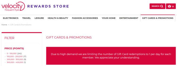 Virgin Australia Velocity Frequent Flyer Rewards Store Beschränkung