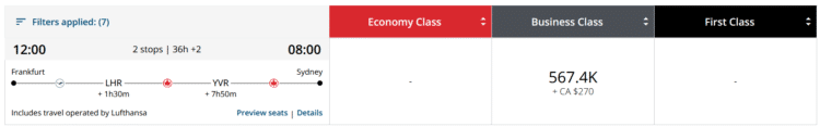 Aeroplan Praemienflug Air Canada Business Class Frankfurt London Vancouver Sydney