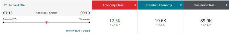 Aeroplan Praemienflug Air Canada Business Class Toronto Vancouver