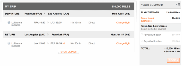 Aeroplan Praemienflug Lufthansa Business Class Fra Lax