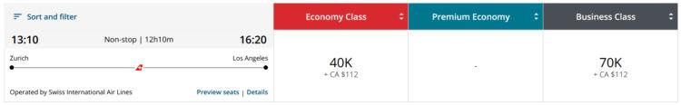Aeroplan Praemienflug Swiss Business Class Zuerich Los Angeles