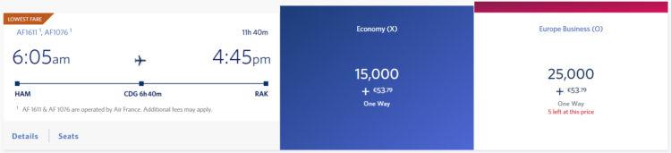 Delta Skymiles Praemienflug Air France Economy Class Ham Cdg Rak
