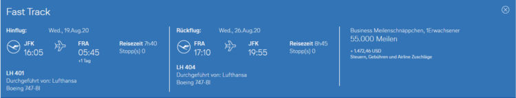 Lufthansa Meilenschnaeppchen Umgekehrt Business Class New York Frankfurt