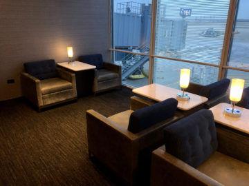 United Polaris Lounge Chicago Sitze Hinten Fenster