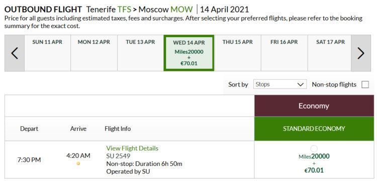 Alitalia Millemiglia Praemienflug Aeroflot Economy Class Tfs Mow