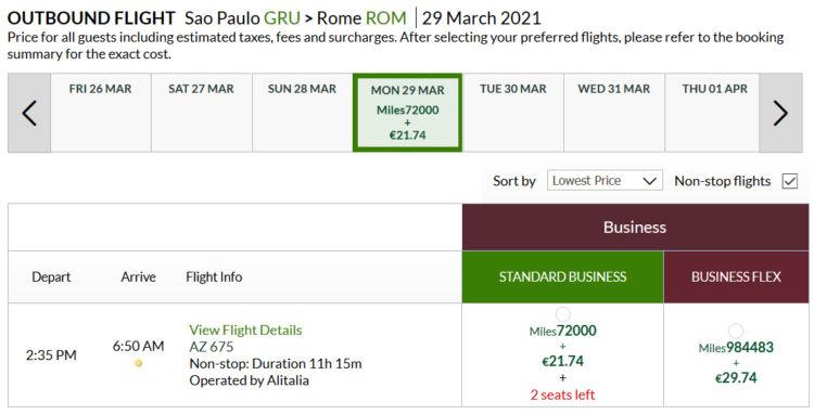 Alitalia Millemiglia Praemienflug Alitalia Business Class Gru Rom