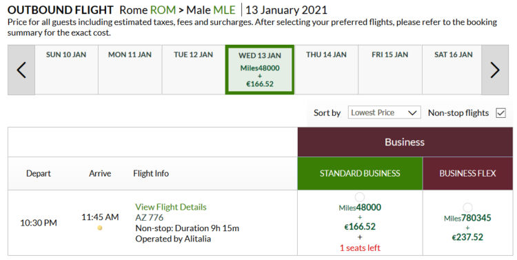 Alitalia Millemiglia Praemienflug Alitalia Business Class Rom Mle
