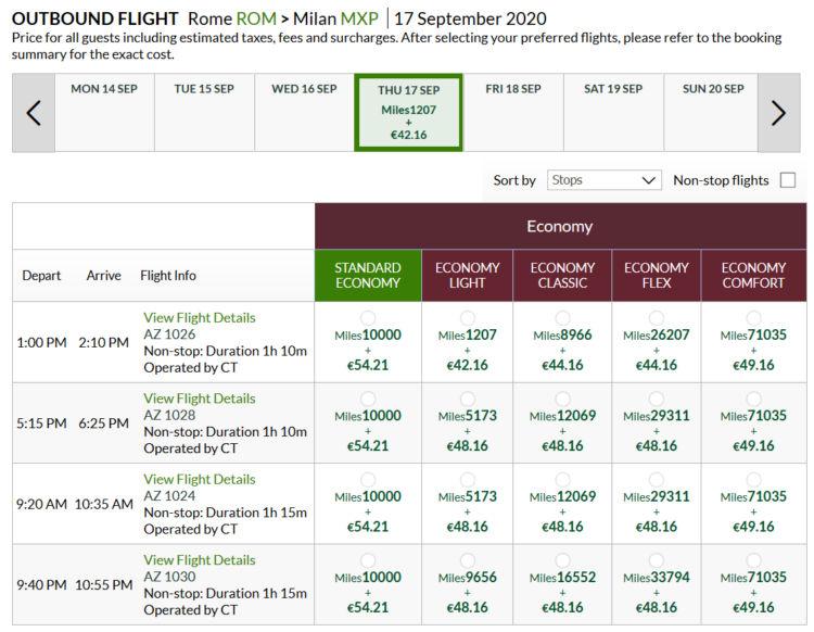 Alitalia Millemiglia Praemienflug Alitalia Economy Class Rom Mxp