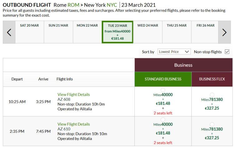 Alitalia Millemiglia Praemienflug Delta Business Class Rom Jfk Rom
